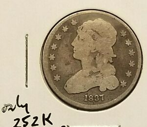1837 BUST QUARTER IN VG CONDITION LOW MINTAGE