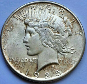 1925 PEACE SILVER DOLLAR AU LUSTER LIGHT TONING