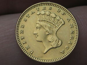 1887 $1 GOLD INDIAN PRINCESS ONE DOLLAR COIN  VF/XF DETAILS