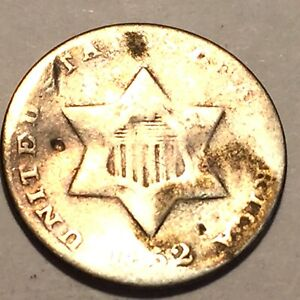 1852 THREE CENT SILVER AVERAGE CIRCULATED 4