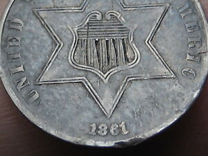 1861 THREE 3 CENT SILVER TRIME  VF/XF DETAILS