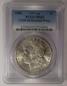 1900 SILVER MORGAN DOLLAR PCGS MS63 VAM 24 DOUBLED WING TOP 100