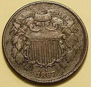 1867 TWO CENT DDO DOUBLE DIE OBVERSE F CONDITION BUT WITH PITTING