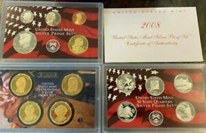 90  SILVER 14 COINS PROOF SET 2008 US MINT WITH BOX COA AND PRESIDENTS US COINS
