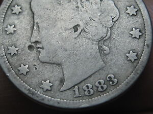 1883 LIBERTY HEAD V NICKEL 5 CENT PIECE  WITH CENTS VG DETAILS