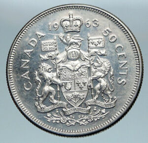 Click now to see the BUY IT NOW Price! 1963 CANADA QUEEN ELIZABETH II ARMS OLD VINTAGE LION SILVER 50 CENTS COIN I85165