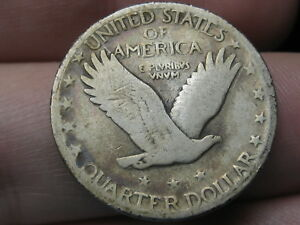 1928 S SILVER STANDING LIBERTY QUARTER VG/FINE DETAILS