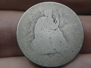 1840  1865 P SILVER SEATED LIBERTY QUARTER  WITH DRAPERY LOWBALL HEAVILY WORN