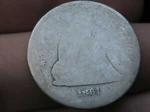 1861 P SILVER SEATED LIBERTY QUARTER  LOWBALL HEAVILY WORN PO1 CANDIDATE?