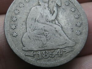 1854 P SILVER SEATED LIBERTY QUARTER  WITH ARROWS VG DETAILS