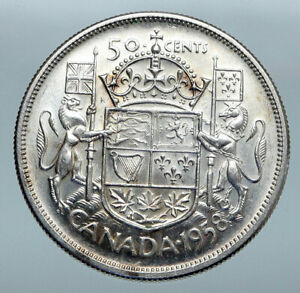 Click now to see the BUY IT NOW Price! 1958 CANADA QUEEN ELIZABETH II ARMS CROWN VINTAGE SILVER 50 CENTS COIN I85206