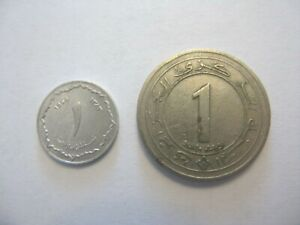 1 DINER AND 1 CENTIME CIRCULATED COINS FROM ALGERIA