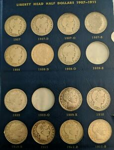 Click now to see the BUY IT NOW Price! BARBER SILVER HALF DOLLARS 1907 1915 BOOK/SET   22 COINS WITH KEY DATES