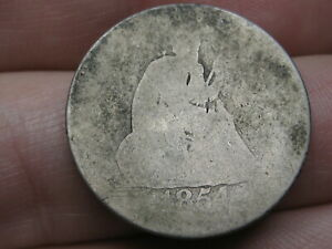 1854 SILVER SEATED LIBERTY QUARTER  WITH ARROWS LOWBALL HEAVILY WORN