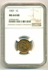1907 INDIAN HEAD CENT MS64 RB NGC