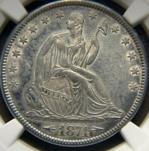 1874 ARROWS SEATED LIBERTY HALF DOLLAR 50C COIN   CERTIFIED NGC AU DETAILS
