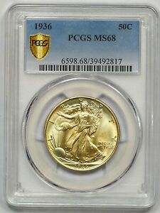 Click now to see the BUY IT NOW Price! 1936 PCGS MS 68 WALKING LIBERTY HALF  MEGA RARITY  EXCEPTIONAL COLOR  TOP POP 4