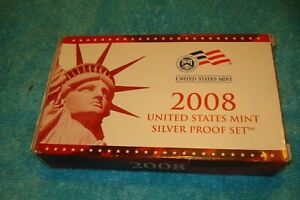 14 COIN 2008 S UNITED STATES MINT SILVER PROOF SET WITH COA EXCELLENT