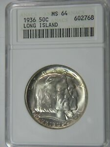 1936 LONG ISLAND 50C ANACS MS 64 CHOICE COIN IN 30  YEAR OLD ANACS HOLDER