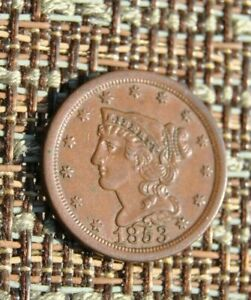 1853 HALF CENT   AU    CHOICE BROWN
