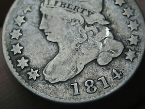 1814 CAPPED BUST SILVER DIME  LARGE DATE  FINE DETAILS