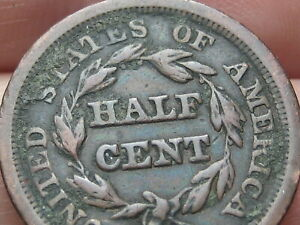 1850 BRAIDED HAIR HALF CENT  FINE DETAILS