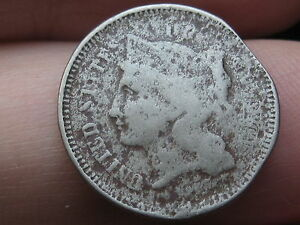 1867 THREE 3 CENT NICKEL  CIVIL WAR TYPE COIN CLIPPED PLANCHET