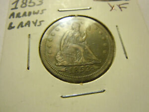 1853 ARROWS RAYS SEATED LIBERTY QUARTER  XF/AU DETAILS