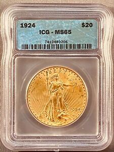 1924  ICG MS65  $20 GOLD ST. GAUDENS DOUBLE EAGLE  US COIN STUNNING LUSTER