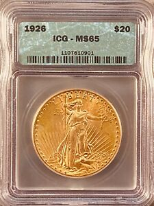 1926 ICG MS65.  $20 GOLD ST. GAUDENS  DOUBLE EAGLE  US COIN STUNNING LUSTER