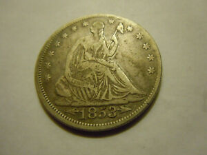 1853 SEATED HALF  ARROWS AND RAYS..VF   LOT A9