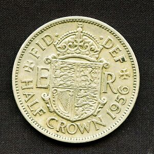 1956 HALF CROWN COIN QUEEN ELIZABETH II GREAT BRITAIN UK VINTAGE