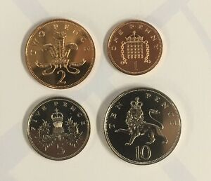 1986 10P 1P SMALL COINS FROM ROYAL MINT BUNC YEAR SET 1P 2P  5P & 10P  R1285