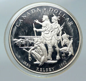 Click now to see the BUY IT NOW Price! 1990 CANADA UK QUEEN ELIZABETH II HENRY KELSEY NATIVES PROOF SILVER COIN I85655