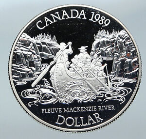 Click now to see the BUY IT NOW Price! 1989 CANADA UK QUEEN ELIZABETH II MACKENZIE RIVER CANOE PROOF SILVER COIN I85745