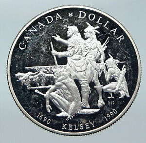 Click now to see the BUY IT NOW Price! 1990 CANADA UK QUEEN ELIZABETH II HENRY KELSEY NATIVES PROOF SILVER COIN I85747