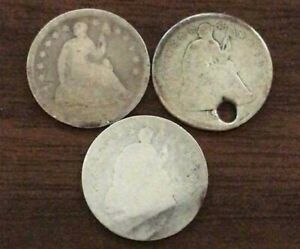 SEATED LIBERTY HALF DIMES 1 WITH PARTIAL DATE AN HOLE 2 WITH NO DATE 3PC SET