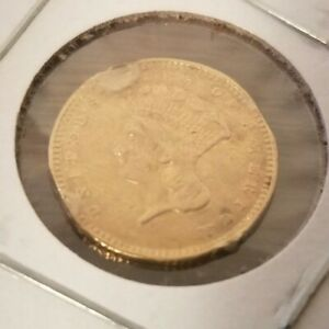 1857 $1 INDIAN PRINCESS HEAD GOLD TYPE 3 ONE DOLLAR  NICE COIN OLD COLLECTORS
