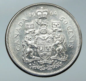 Click now to see the BUY IT NOW Price! 1964 CANADA QUEEN ELIZABETH II ARMS CROWN VINTAGE SILVER 50 CENTS COIN I86082