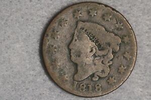 1818 LIBERTY HEAD CORONET HEAD LARGE CENT PENNY EARLY US TYPE COIN