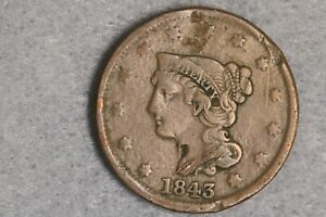 1843 LIBERTY HEAD BRAIDED HAIR LARGE CENT PENNY EARLY US TYPE COIN