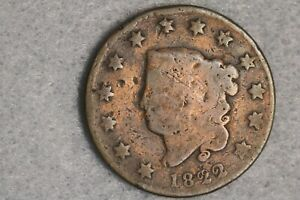 1822 CORONET LIBERTY HEAD LARGE CENT PENNY EARLY US TYPE COIN