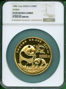 Click now to see the BUY IT NOW Price! 1986 PANDA GOLD  12  OZ  GOLD  1000 YUAN   NGC  PF 69  ULTRA CAMEO BETTER  DATE