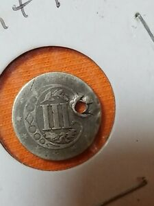 1857 SILVER 3 CENT PIECE HOLED