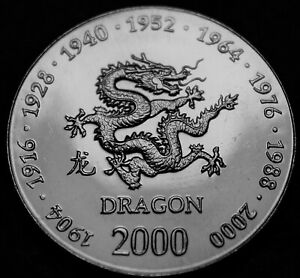 SOMALIA 10 SHILLINGS 2000 GEM UNC DRAGON ASIAN ASTRONOMY ONLY YEAR FREE SHIP