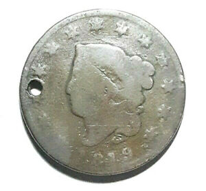 1819 LARGE CENT HOLED