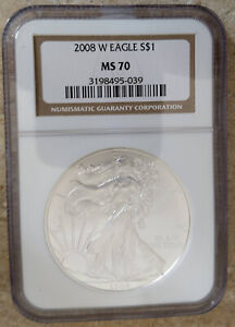 2008 W MS70 BURNISHED $1 AMERICAN SILVER EAGLE NGC