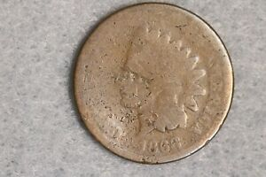 1868 1C INDIAN HEAD CENT PENNY EARLY US TYPE COIN