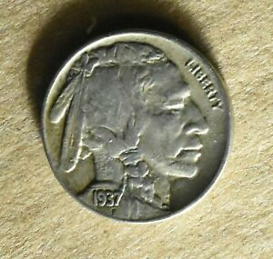 1937 D BUFFALO NICKEL WITH FILLED D ERROR