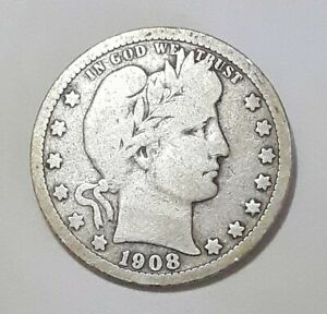 1908 O BARBER QUARTER GOOD